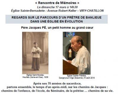 Rencontre de Mémoires: P. Jacques PE